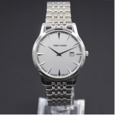 Stainless steel case genuine leather band Japan quartz movement water resistant men watch